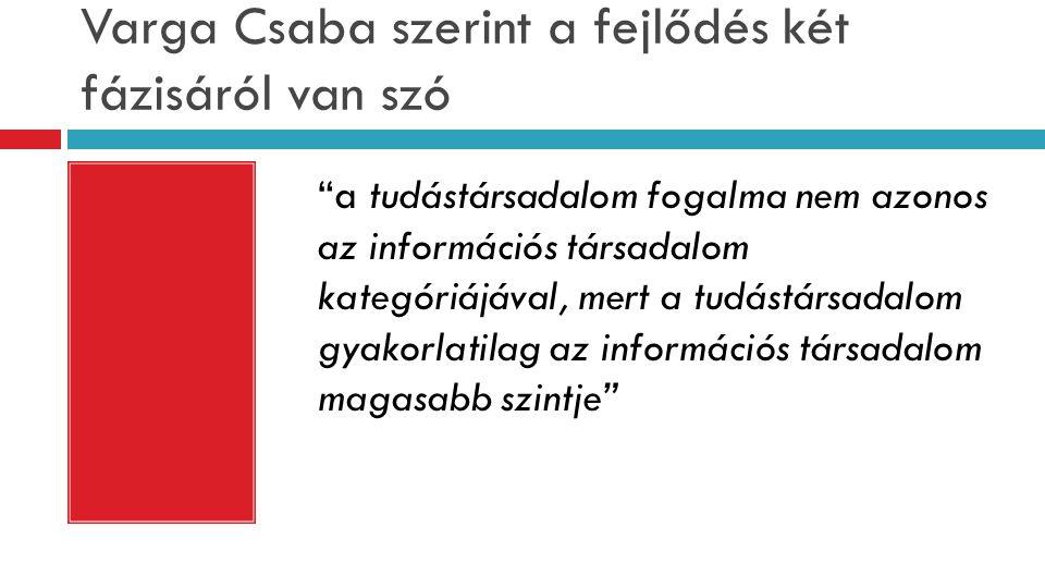 """Varga Csaba szerint a fejlődés két fázisáról van szó """"a tudástársadalom fogalma nem azonos az információs társadalom kategóriájával, mert a tudástársa"""