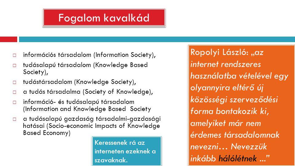  információs társadalom (Information Society),  tudásalapú társadalom (Knowledge Based Society),  tudástársadalom (Knowledge Society),  a tudás tá