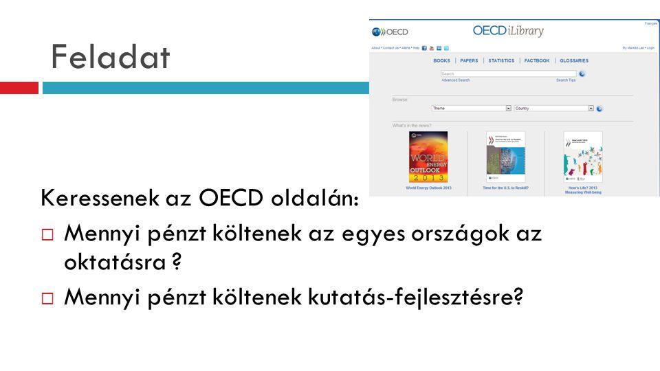 Feladat Keressenek az OECD oldalán:  Mennyi pénzt költenek az egyes országok az oktatásra ?  Mennyi pénzt költenek kutatás-fejlesztésre?