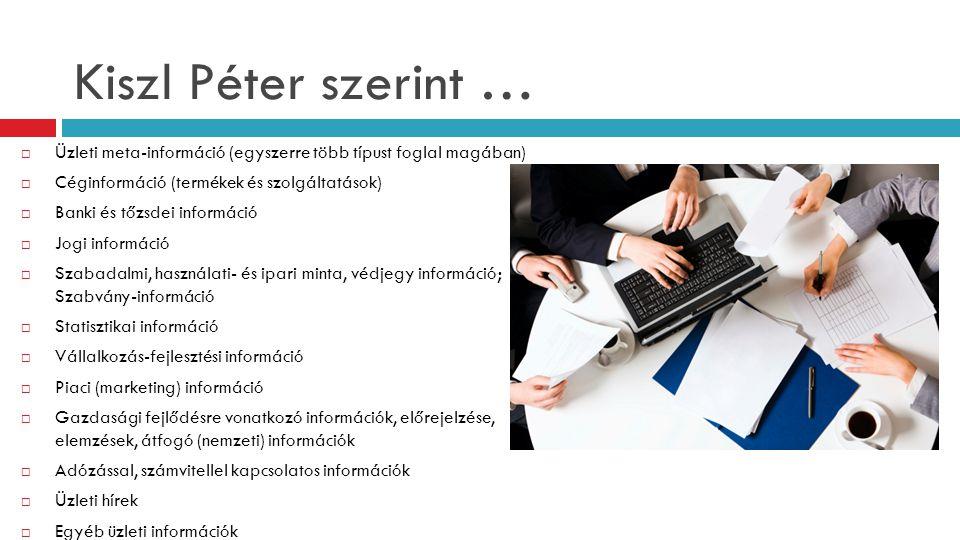 Kiszl Péter szerint …  Üzleti meta-információ (egyszerre több típust foglal magában)  Céginformáció (termékek és szolgáltatások)  Banki és tőzsdei