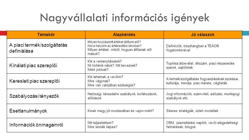 Nagyvállalati információs igények TémakörAlapkérdésJó válaszok A piaci termék/szolgáltatás definiálása Milyen hozzáadott értéket állítunk elő? Hol a h