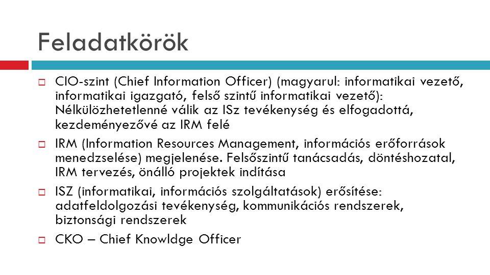 Feladatkörök  CIO-szint (Chief Information Officer) (magyarul: informatikai vezető, informatikai igazgató, felső szintű informatikai vezető): Nélkülö