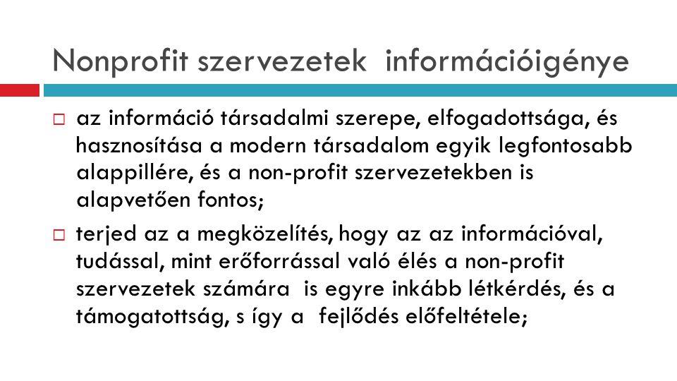 Nonprofit szervezetek információigénye  az információ társadalmi szerepe, elfogadottsága, és hasznosítása a modern társadalom egyik legfontosabb alap