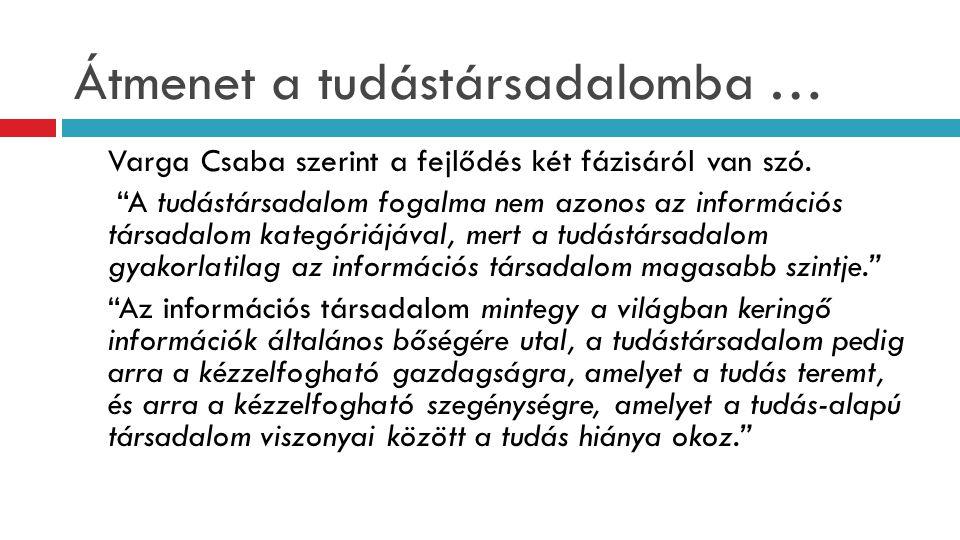 Tószegi Zsuzsa, 2006  A tudástársadalomban tehát első helyen az információ szabad hozzáférhetőségét kell biztosítania mindenki számára.