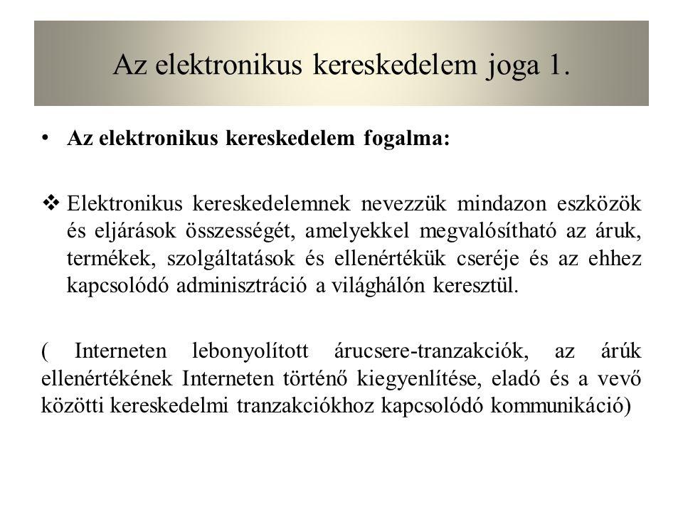 Az elektronikus kereskedelem joga 2/1.