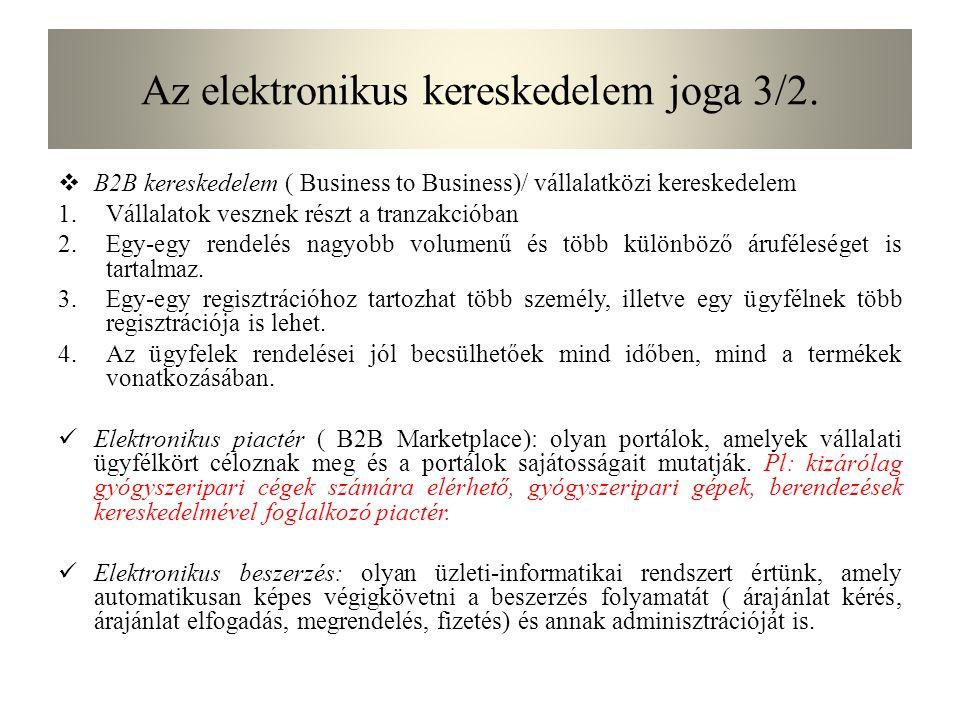 Az elektronikus kereskedelem joga 7.