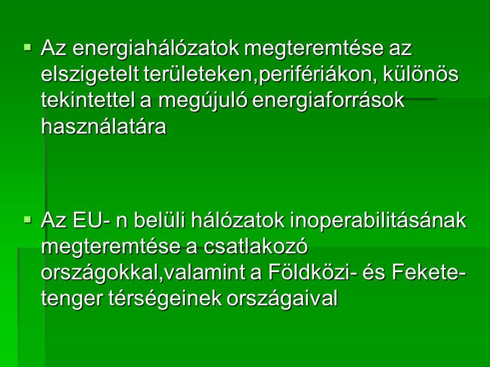  Az energiahálózatok megteremtése az elszigetelt területeken,perifériákon, különös tekintettel a megújuló energiaforrások használatára  Az EU- n belüli hálózatok inoperabilitásának megteremtése a csatlakozó országokkal,valamint a Földközi- és Fekete- tenger térségeinek országaival
