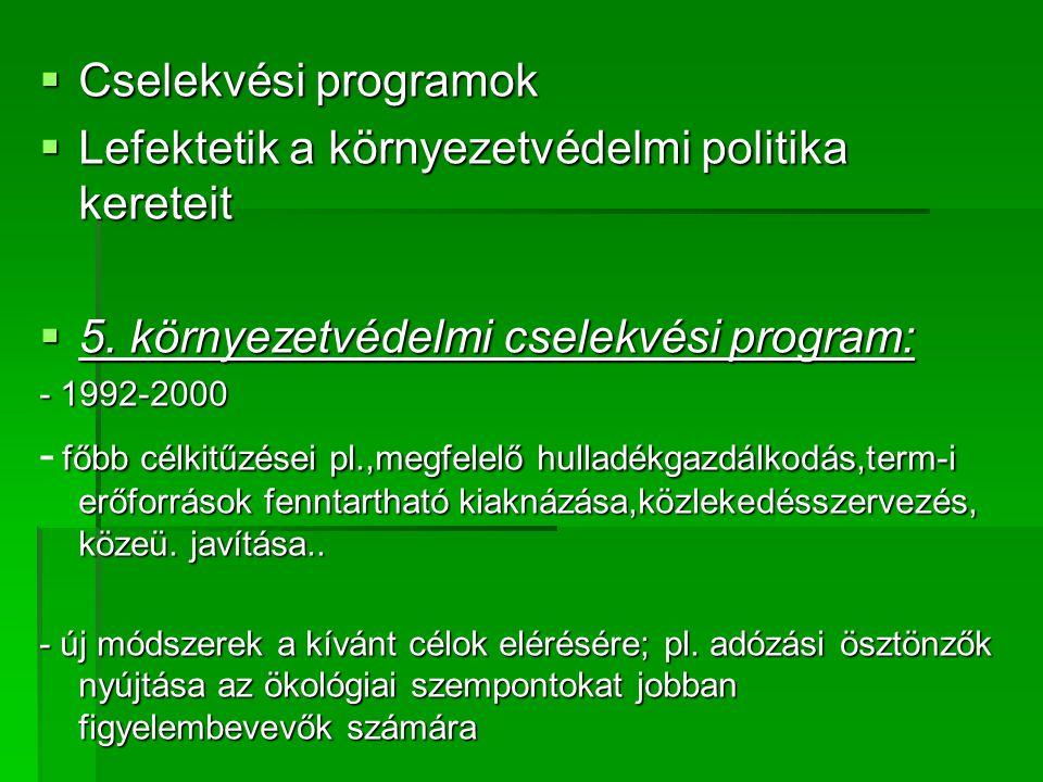  Cselekvési programok  Lefektetik a környezetvédelmi politika kereteit  5.
