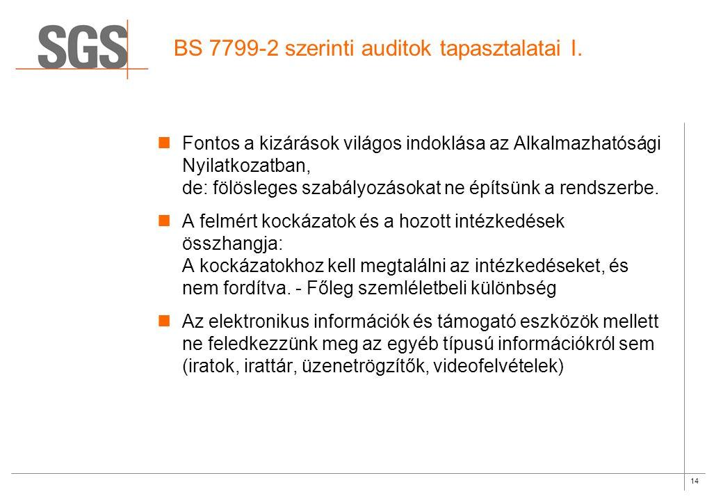 14 BS 7799-2 szerinti auditok tapasztalatai I.