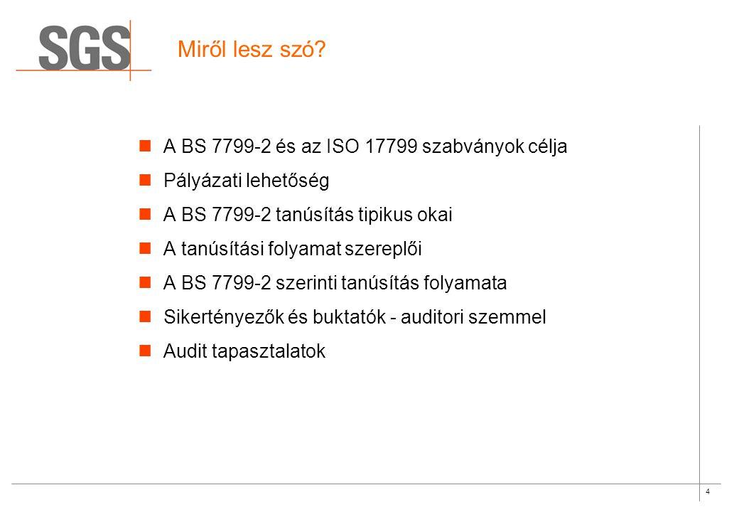 15 BS 7799-2 szerinti auditok tapasztalatai II.