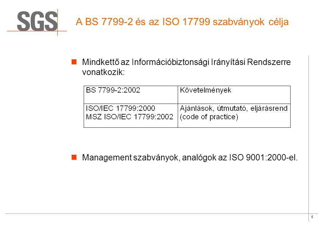 5 A BS 7799-2 és az ISO 17799 szabványok célja Mindkettő az Információbiztonsági Irányítási Rendszerre vonatkozik: Management szabványok, analógok az ISO 9001:2000-el.