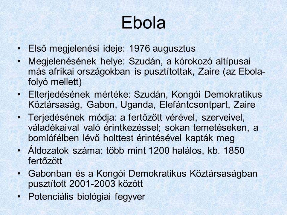 Ebola Első megjelenési ideje: 1976 augusztus Megjelenésének helye: Szudán, a kórokozó altípusai más afrikai országokban is pusztítottak, Zaire (az Ebola- folyó mellett) Elterjedésének mértéke: Szudán, Kongói Demokratikus Köztársaság, Gabon, Uganda, Elefántcsontpart, Zaire Terjedésének módja: a fertőzött vérével, szerveivel, váladékaival való érintkezéssel; sokan temetéseken, a bomlófélben lévő holttest érintésével kapták meg Áldozatok száma: több mint 1200 halálos, kb.
