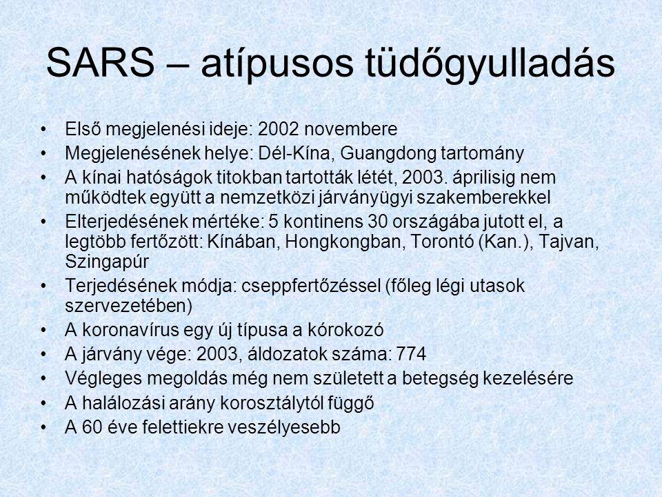 SARS – atípusos tüdőgyulladás Első megjelenési ideje: 2002 novembere Megjelenésének helye: Dél-Kína, Guangdong tartomány A kínai hatóságok titokban tartották létét, 2003.