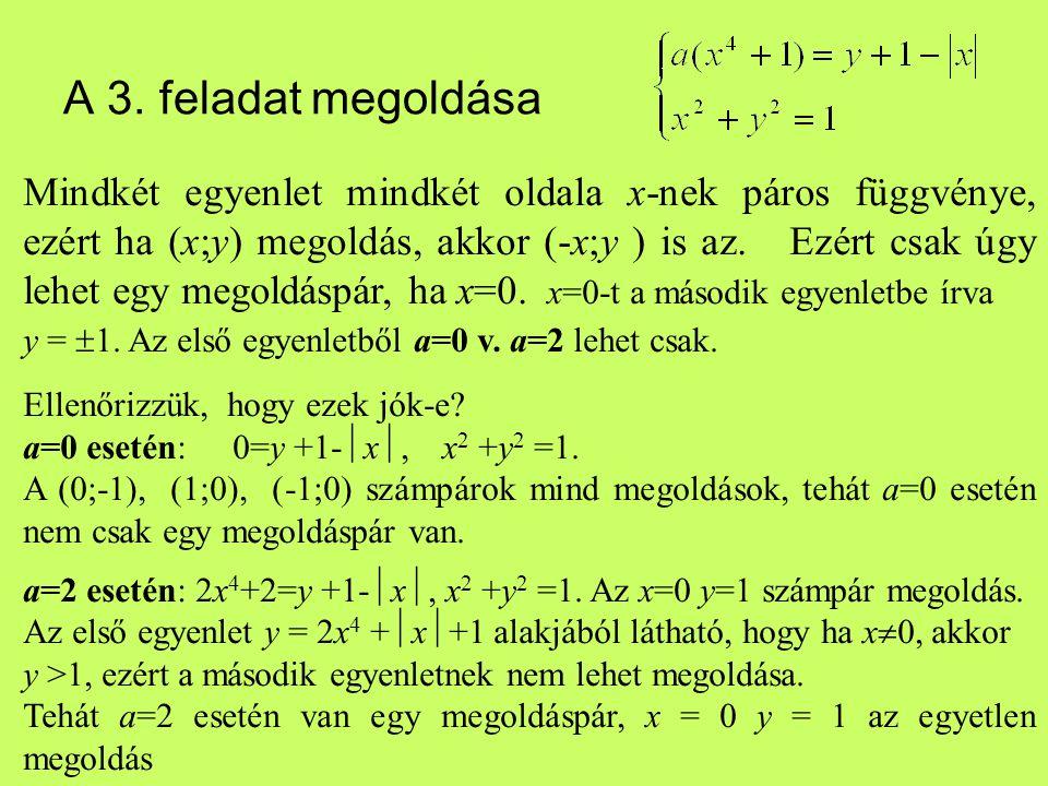 A 3. feladat megoldása Mindkét egyenlet mindkét oldala x-nek páros függvénye, ezért ha (x;y) megoldás, akkor (-x;y ) is az. Ezért csak úgy lehet egy m