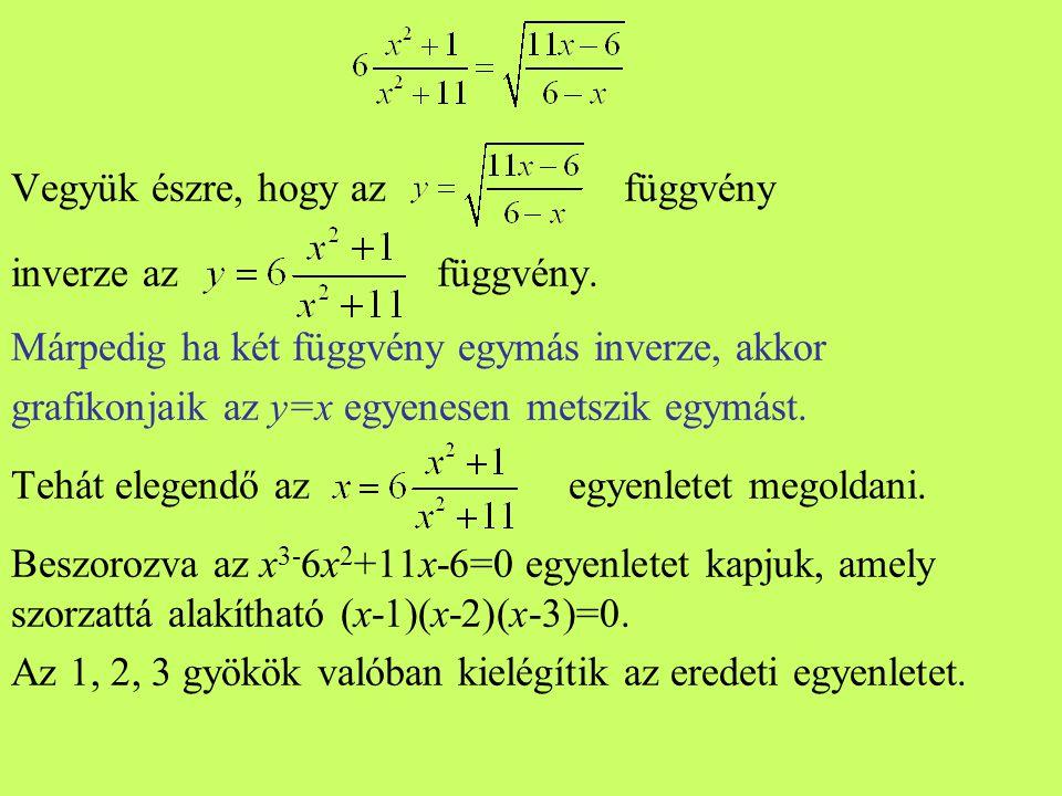 Vegyük észre, hogy az függvény inverze az függvény. Márpedig ha két függvény egymás inverze, akkor grafikonjaik az y=x egyenesen metszik egymást. Tehá