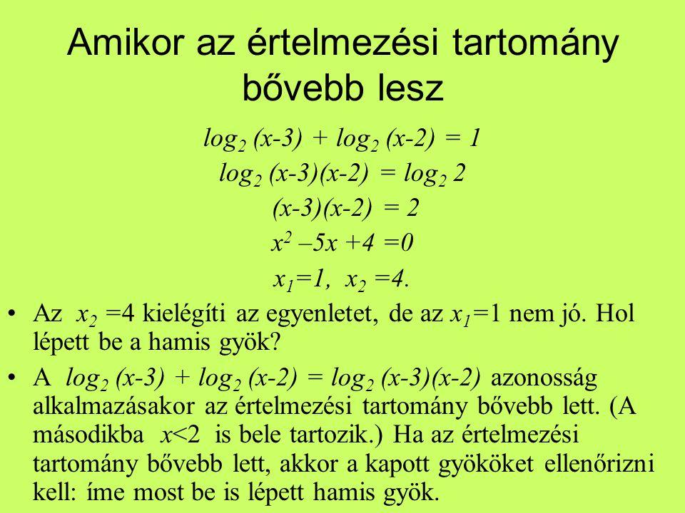 log 2 (x-3) + log 2 (x-2) = 1 log 2 (x-3)(x-2) = log 2 2 (x-3)(x-2) = 2 x 2 –5x +4 =0 x 1 =1, x 2 =4. Az x 2 =4 kielégíti az egyenletet, de az x 1 =1