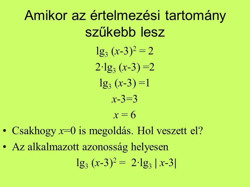 Amikor az értelmezési tartomány szűkebb lesz lg 3 (x-3) 2 = 2 2·lg 3 (x-3) =2 lg 3 (x-3) =1 x-3=3 x = 6 Csakhogy x=0 is megoldás. Hol veszett el? Az a