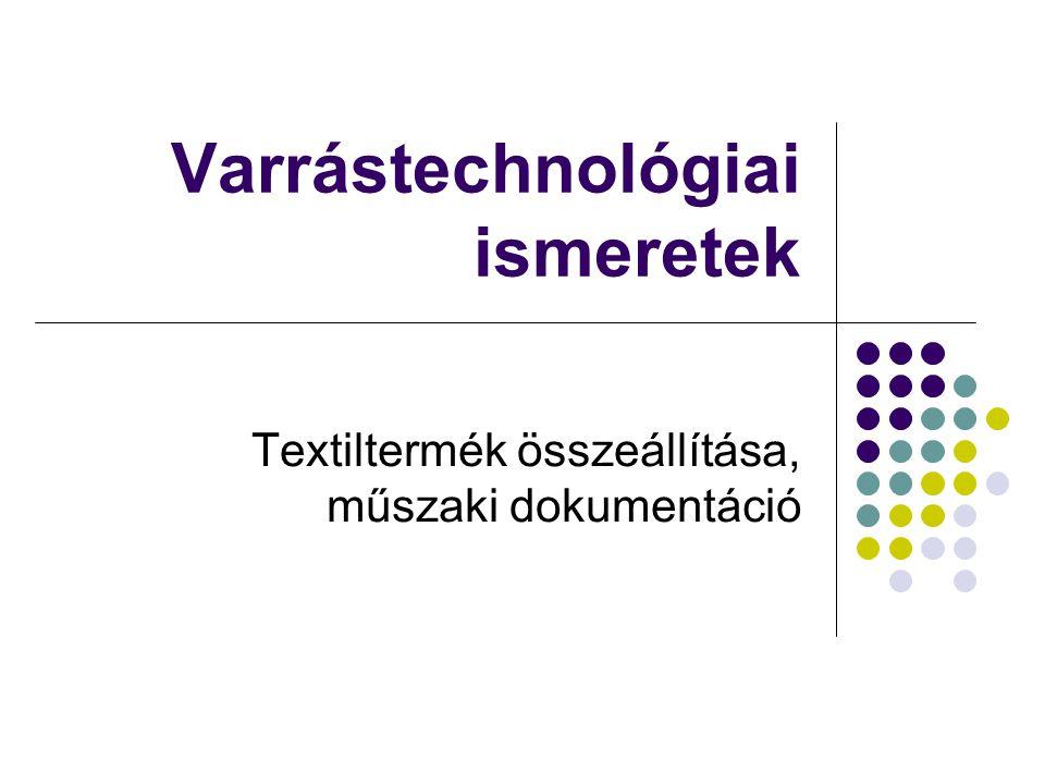 Varrástechnológiai ismeretek Textiltermék összeállítása, műszaki dokumentáció