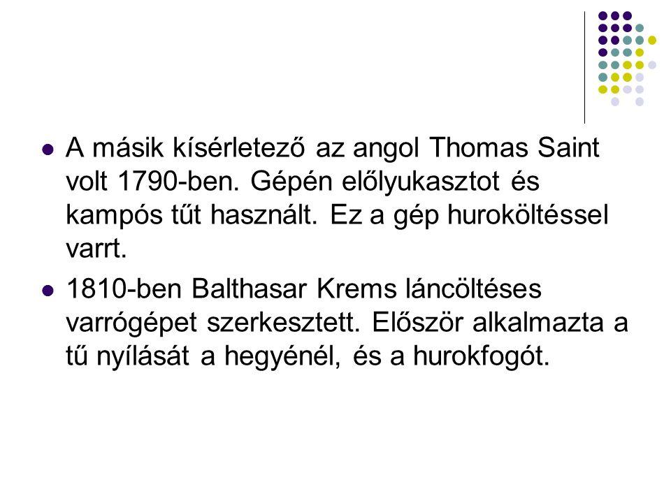 A másik kísérletező az angol Thomas Saint volt 1790-ben.