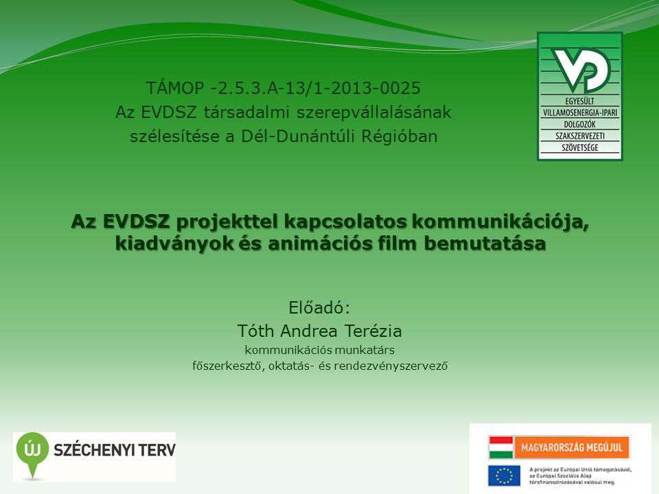12 TÁMOP -2.5.3.A-13/1-2013-0025 Az EVDSZ társadalmi szerepvállalásának szélesítése a Dél-Dunántúli Régióban Projekttel kapcsolatos kommunikáció, kiadványok bemutatása