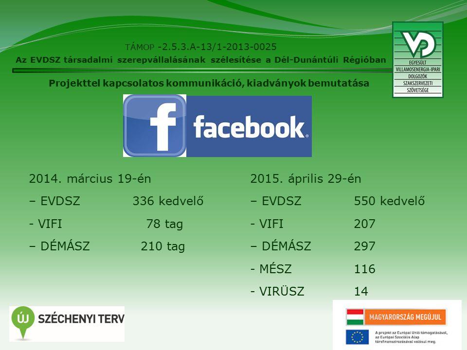11 TÁMOP -2.5.3.A-13/1-2013-0025 Az EVDSZ társadalmi szerepvállalásának szélesítése a Dél-Dunántúli Régióban 2014.