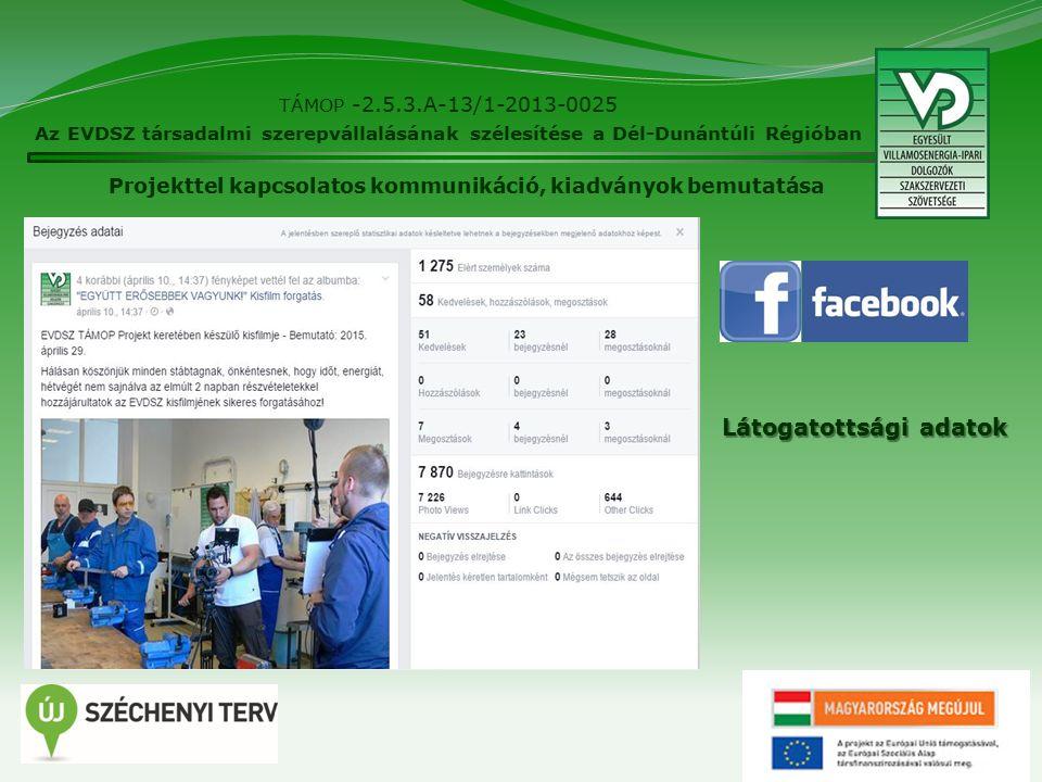 15 TÁMOP -2.5.3.A-13/1-2013-0025 Az EVDSZ társadalmi szerepvállalásának szélesítése a Dél-Dunántúli Régióban Látogatottsági adatok Projekttel kapcsolatos kommunikáció, kiadványok bemutatása