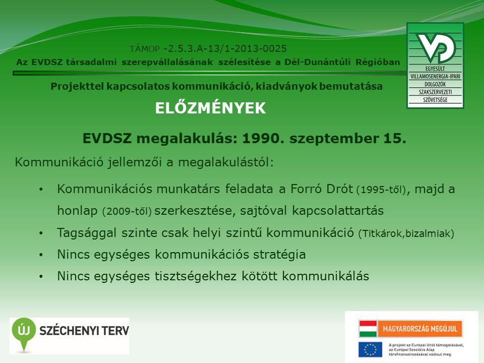 TÁMOP -2.5.3.A-13/1-2013-0025 Az EVDSZ társadalmi szerepvállalásának szélesítése a Dél-Dunántúli Régióban Projekttel kapcsolatos kommunikáció, kiadványok bemutatása EVDSZ megalakulás: 1990.