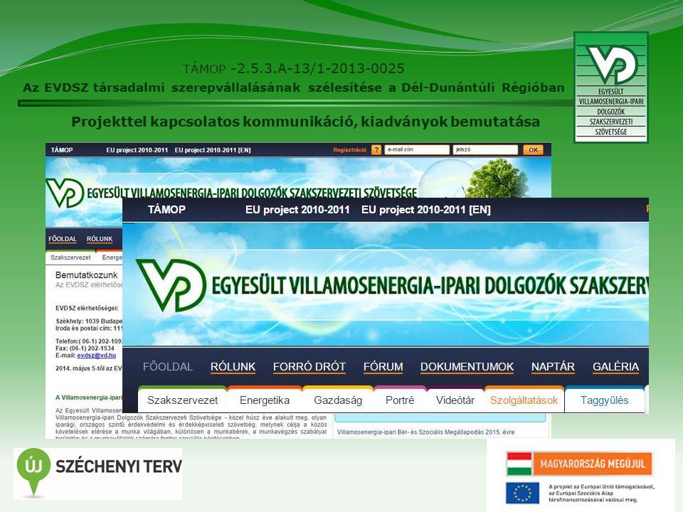 21 TÁMOP -2.5.3.A-13/1-2013-0025 Az EVDSZ társadalmi szerepvállalásának szélesítése a Dél-Dunántúli Régióban Projekttel kapcsolatos kommunikáció, kiadványok bemutatása