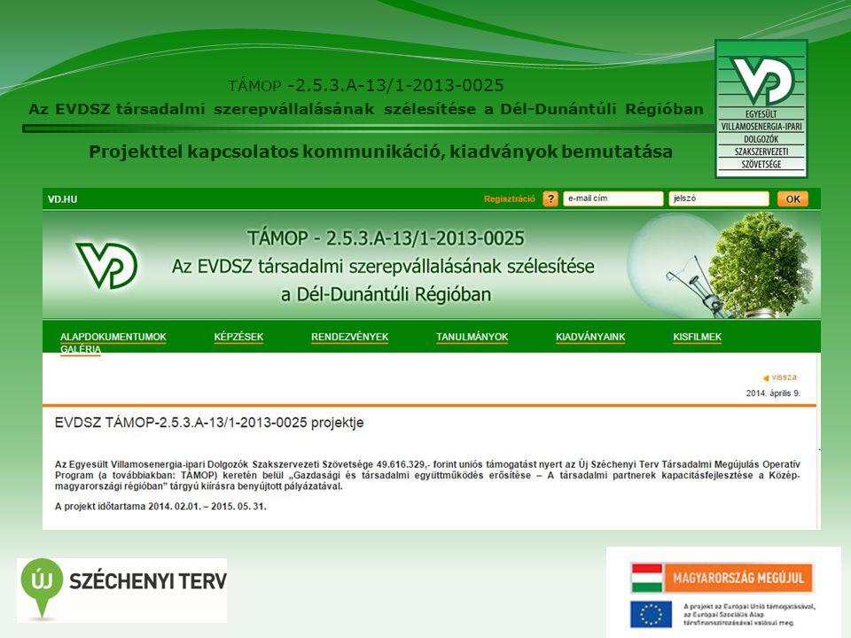22 TÁMOP -2.5.3.A-13/1-2013-0025 Az EVDSZ társadalmi szerepvállalásának szélesítése a Dél-Dunántúli Régióban Projekttel kapcsolatos kommunikáció, kiadványok bemutatása