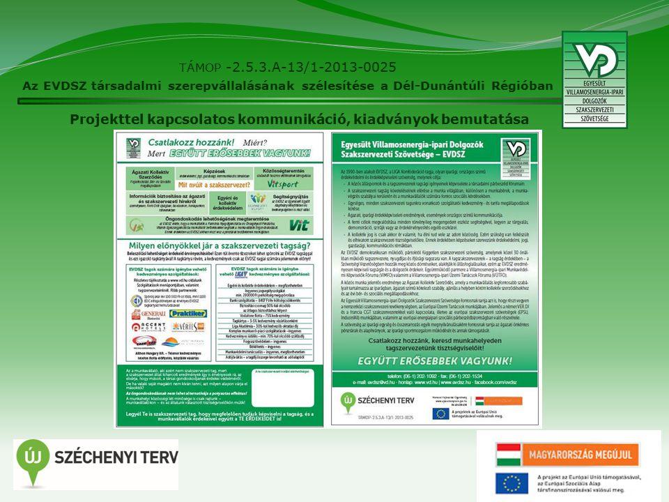 27 TÁMOP -2.5.3.A-13/1-2013-0025 Az EVDSZ társadalmi szerepvállalásának szélesítése a Dél-Dunántúli Régióban Projekttel kapcsolatos kommunikáció, kiadványok bemutatása