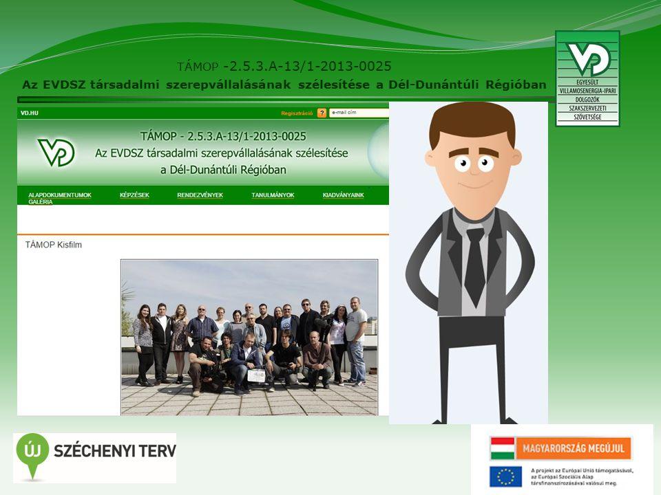 28 TÁMOP -2.5.3.A-13/1-2013-0025 Az EVDSZ társadalmi szerepvállalásának szélesítése a Dél-Dunántúli Régióban