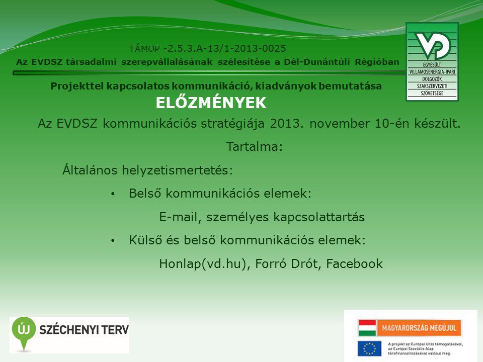 24 TÁMOP -2.5.3.A-13/1-2013-0025 Az EVDSZ társadalmi szerepvállalásának szélesítése a Dél-Dunántúli Régióban Projekttel kapcsolatos kommunikáció, kiadványok bemutatása