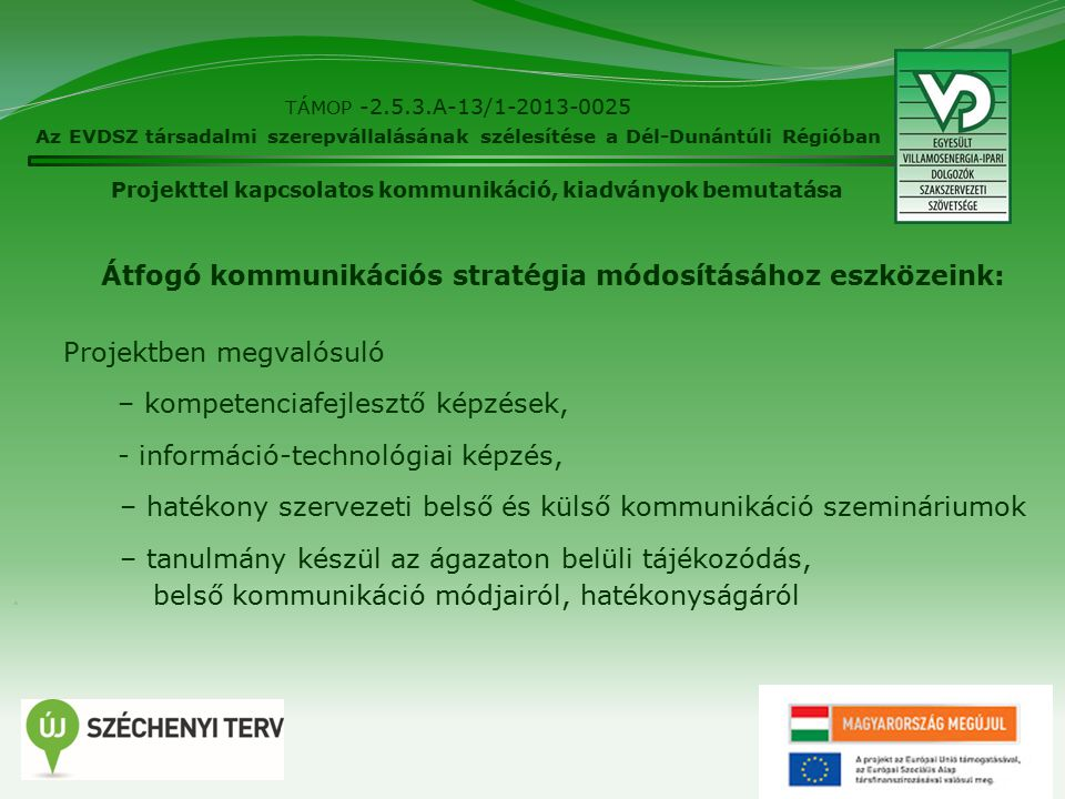 16 TÁMOP -2.5.3.A-13/1-2013-0025 Az EVDSZ társadalmi szerepvállalásának szélesítése a Dél-Dunántúli Régióban Látogatottságiadatok Projekttel kapcsolatos kommunikáció, kiadványok bemutatása