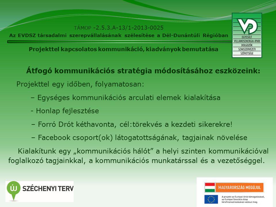 6 TÁMOP -2.5.3.A-13/1-2013-0025 Az EVDSZ társadalmi szerepvállalásának szélesítése a Dél-Dunántúli Régióban Átfogó kommunikációs stratégia módosításához eszközeink: Projekttel egy időben, folyamatosan: – Egységes kommunikációs arculati elemek kialakítása - Honlap fejlesztése – Forró Drót kéthavonta, cél:törekvés a kezdeti sikerekre.