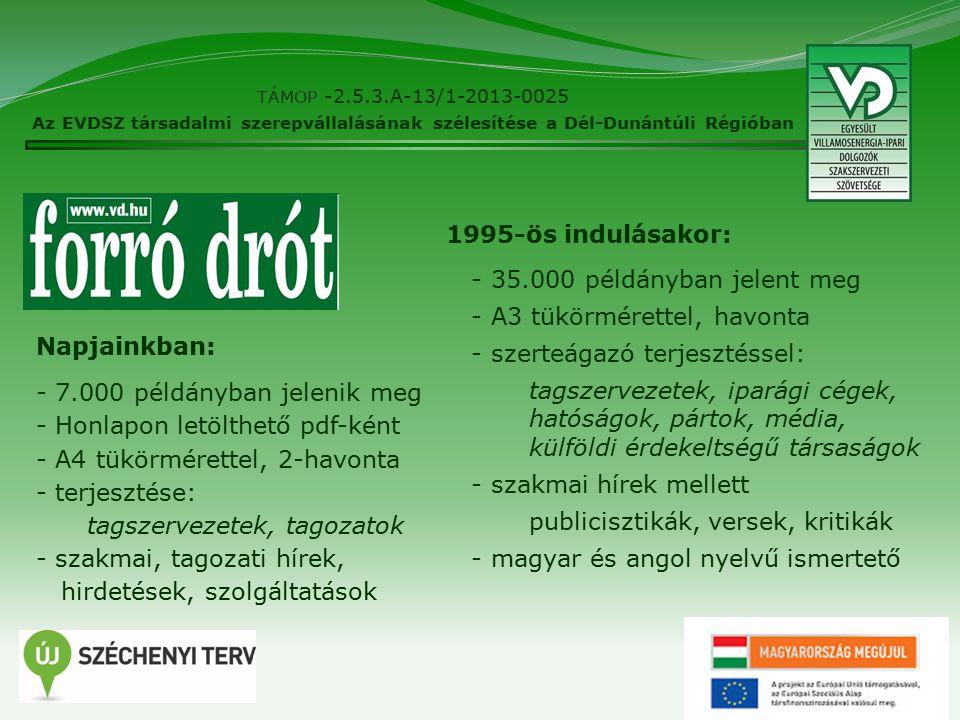 8 TÁMOP -2.5.3.A-13/1-2013-0025 Az EVDSZ társadalmi szerepvállalásának szélesítése a Dél-Dunántúli Régióban Napjainkban: - 7.000 példányban jelenik meg - Honlapon letölthető pdf-ként - A4 tükörmérettel, 2-havonta - terjesztése: tagszervezetek, tagozatok - szakmai, tagozati hírek, hirdetések, szolgáltatások 1995-ös indulásakor: - 35.000 példányban jelent meg - A3 tükörmérettel, havonta - szerteágazó terjesztéssel: tagszervezetek, iparági cégek, hatóságok, pártok, média, külföldi érdekeltségű társaságok - szakmai hírek mellett publicisztikák, versek, kritikák - magyar és angol nyelvű ismertető