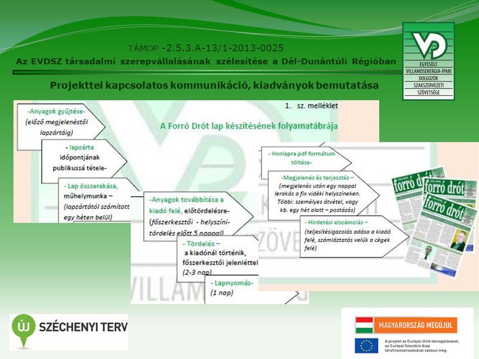 10 TÁMOP -2.5.3.A-13/1-2013-0025 Az EVDSZ társadalmi szerepvállalásának szélesítése a Dél-Dunántúli Régióban Projekttel kapcsolatos kommunikáció, kiadványok bemutatása
