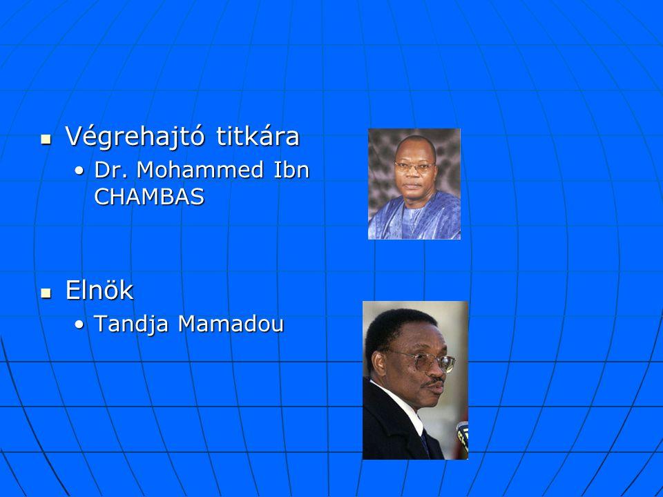 Végrehajtó titkára Végrehajtó titkára Dr. Mohammed Ibn CHAMBASDr. Mohammed Ibn CHAMBAS Elnök Elnök Tandja MamadouTandja Mamadou