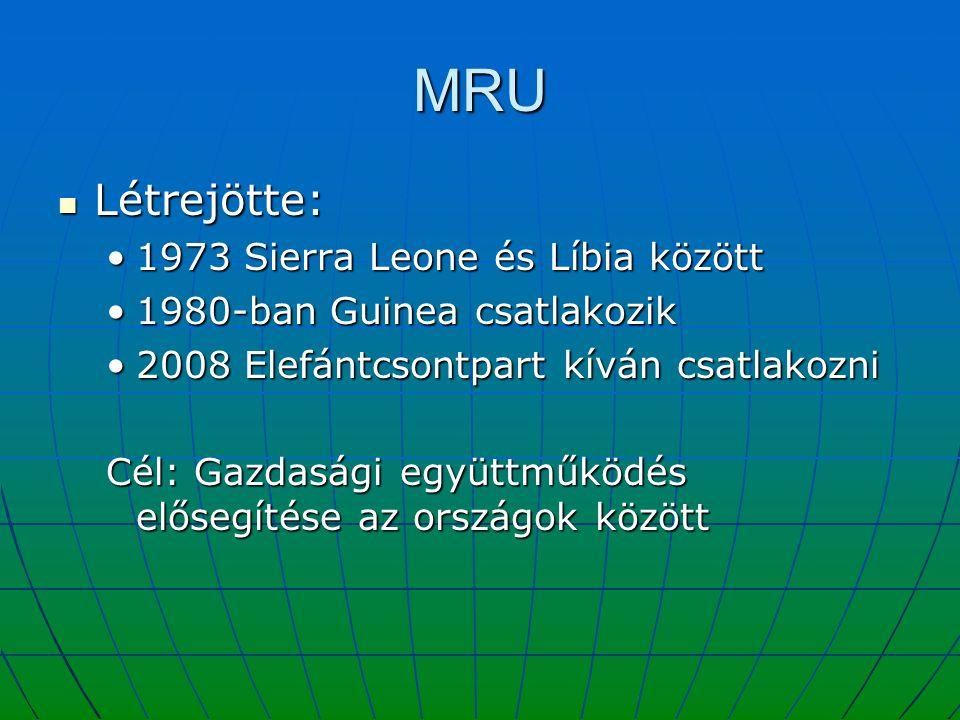 MRU Létrejötte: Létrejötte: 1973 Sierra Leone és Líbia között1973 Sierra Leone és Líbia között 1980-ban Guinea csatlakozik1980-ban Guinea csatlakozik