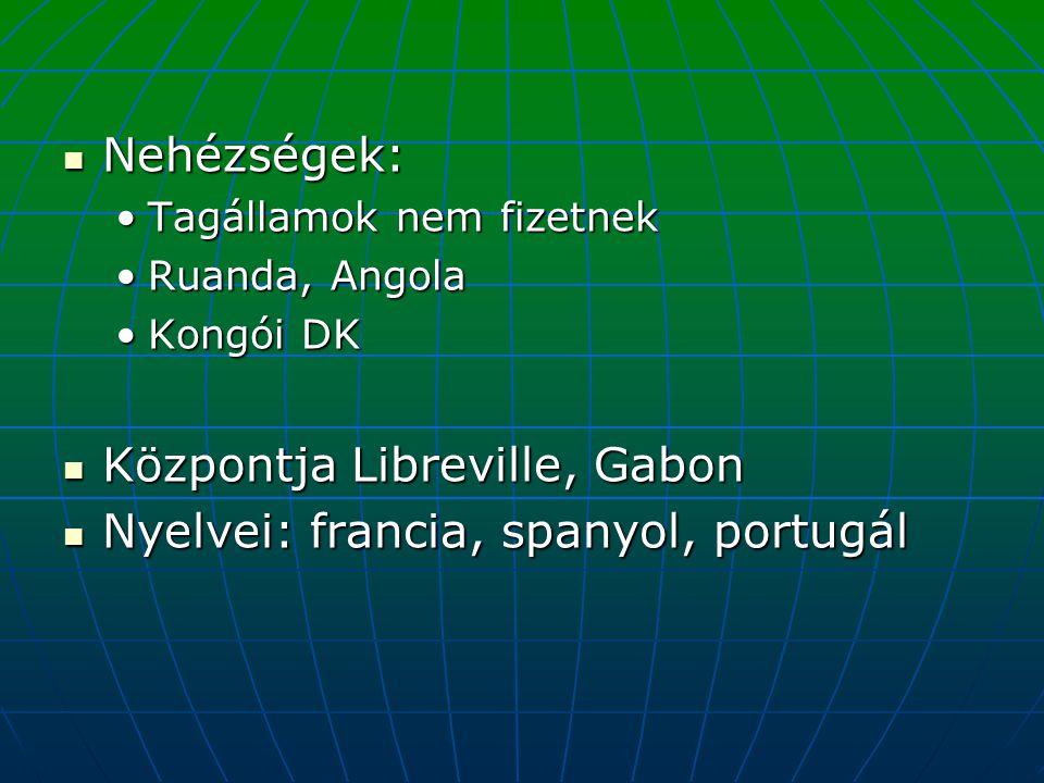 Nehézségek: Nehézségek: Tagállamok nem fizetnekTagállamok nem fizetnek Ruanda, AngolaRuanda, Angola Kongói DKKongói DK Központja Libreville, Gabon Köz