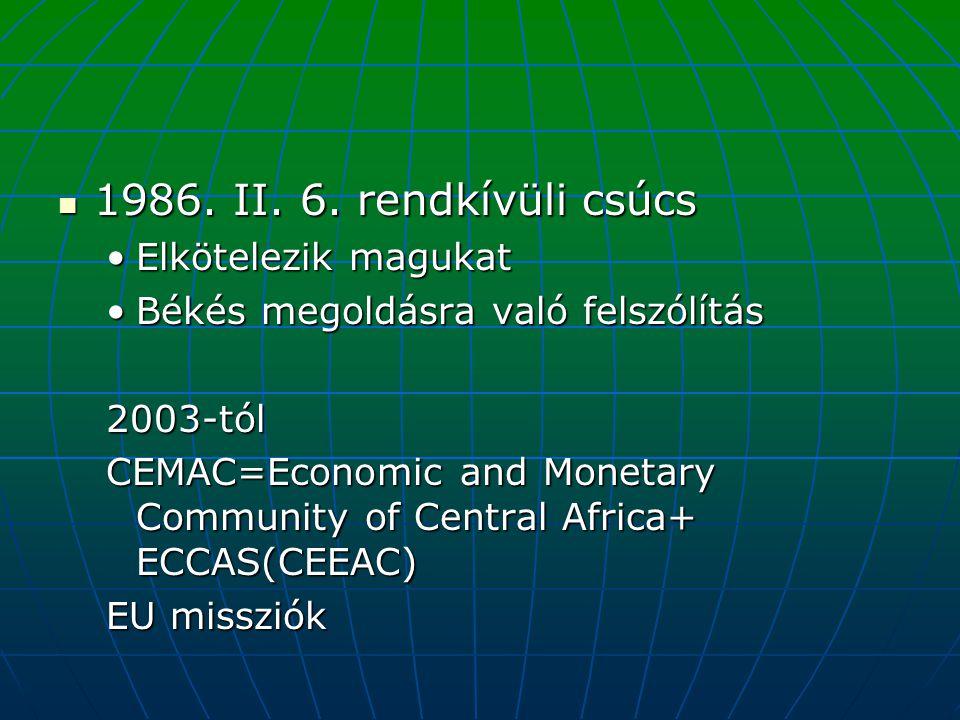 1986. II. 6. rendkívüli csúcs 1986. II. 6. rendkívüli csúcs Elkötelezik magukatElkötelezik magukat Békés megoldásra való felszólításBékés megoldásra v