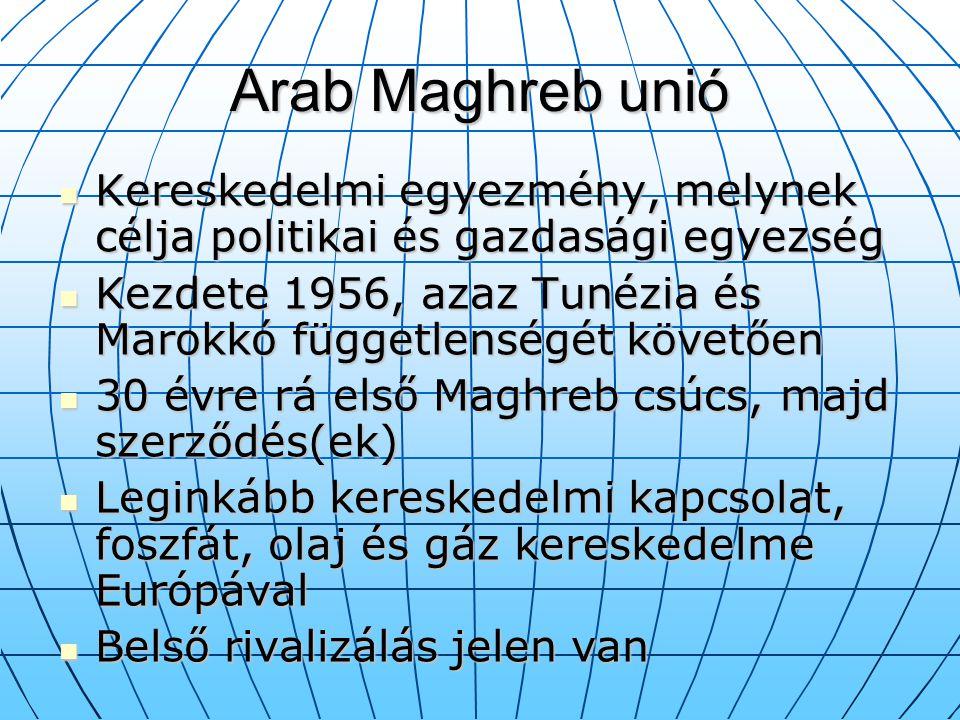 Arab Maghreb unió Kereskedelmi egyezmény, melynek célja politikai és gazdasági egyezség Kereskedelmi egyezmény, melynek célja politikai és gazdasági e