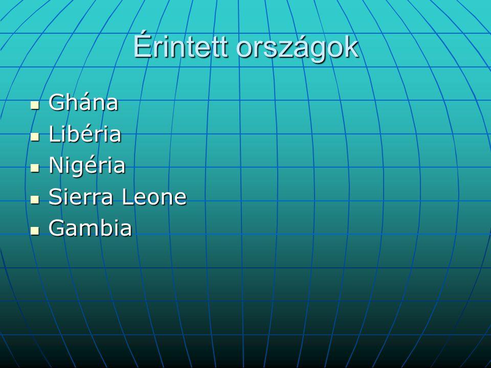 Érintett országok Ghána Ghána Libéria Libéria Nigéria Nigéria Sierra Leone Sierra Leone Gambia Gambia
