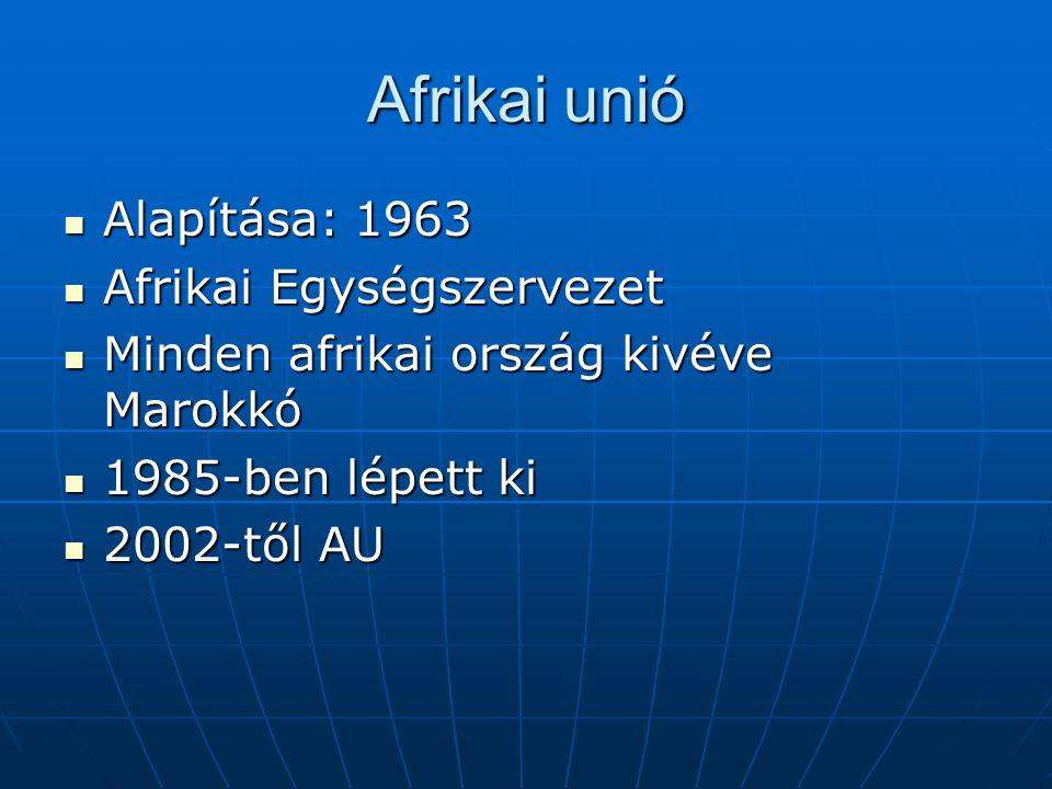 Afrikai unió Alapítása: 1963 Alapítása: 1963 Afrikai Egységszervezet Afrikai Egységszervezet Minden afrikai ország kivéve Marokkó Minden afrikai orszá