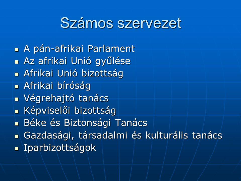 Számos szervezet A pán-afrikai Parlament A pán-afrikai Parlament Az afrikai Unió gyűlése Az afrikai Unió gyűlése Afrikai Unió bizottság Afrikai Unió b