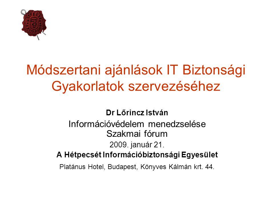 Módszertani ajánlások IT Biztonsági Gyakorlatok szervezéséhez Dr Lőrincz István Információvédelem menedzselése Szakmai fórum 2009.