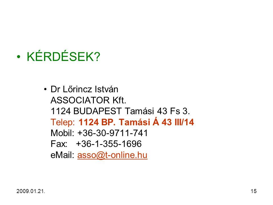2009.01.21.15 KÉRDÉSEK. Dr Lőrincz István ASSOCIATOR Kft.