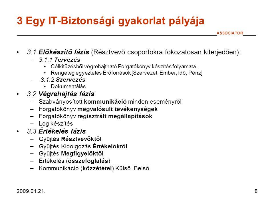 2009.01.21.8 3 Egy IT-Biztonsági gyakorlat pályája _______________________________________________ ASSOCIATOR ___ 3.1 Előkészítő fázis (Résztvevő csoportokra fokozatosan kiterjedően): –3.1.1 Tervezés Célkitűzésből végrehajtható Forgatókönyv készítés folyamata, Rengeteg egyeztetés Erőforrások [Szervezet, Ember, Idő, Pénz] – 3.1.2 Szervezés Dokumentálás 3.2 Végrehajtás fázis –Szabványosított kommunikáció minden eseményről –Forgatókönyv megvalósult tevékenységek –Forgatókönyv regisztrált megállapítások –Log készítés 3.3 Értékelés fázis –Gyűjtés Résztvevőktől –Gyűjtés Kidolgozás Értékelőktől –Gyűjtés Megfigyelőktől –Értékelés (összefoglalás) –Kommunikáció (közzététel) Külső Belső