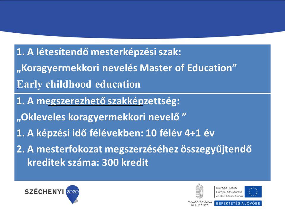 """1.A létesítendő mesterképzési szak: """"Koragyermekkori nevelés Master of Education"""" 1.A megszerezhető szakképzettség: """"Koragyermekkori nevelő Ma"""" 2.A ké"""