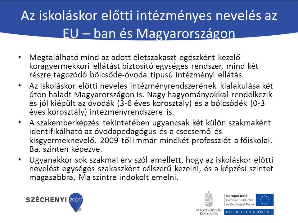 Az iskoláskor előtti intézményes nevelés az EU – ban és Magyarországon Megtalálható mind az adott életszakaszt egészként kezelő koragyermekkori ellátá