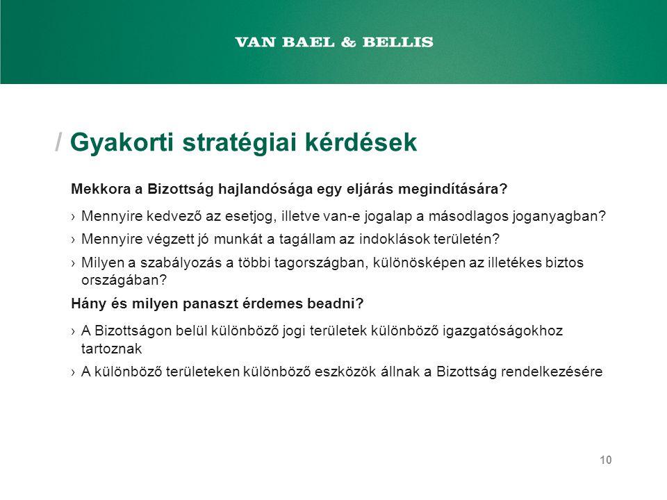 / Gyakorti stratégiai kérdések Mekkora a Bizottság hajlandósága egy eljárás megindítására.